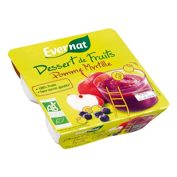 Evernat - Dessert de fruits pomme myrtille 4x100g