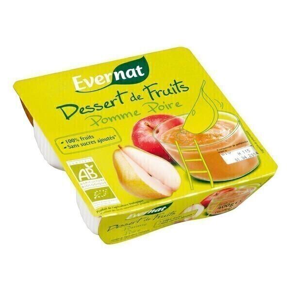 Evernat - Dessert de fruits pomme poire 4x100g