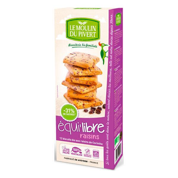 Le Moulin du Pivert - Biscuits Bio Equi'Libre Raisins 200g