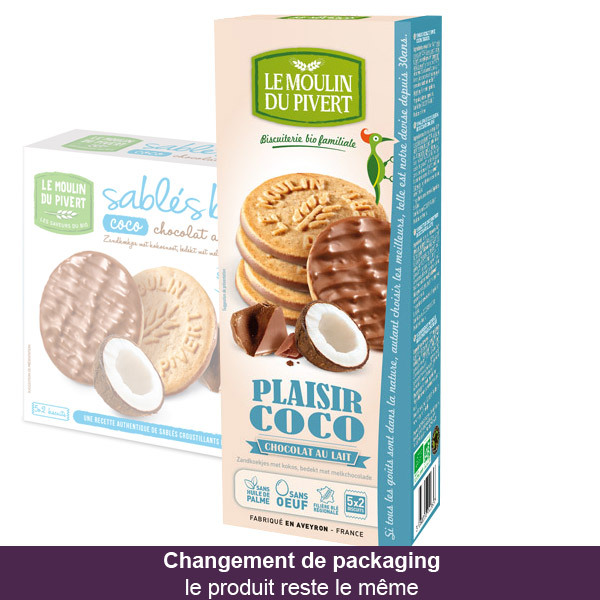 Le Moulin du Pivert - Plaisir Coco Coconut and Milk Chocolate Biscuits 130g