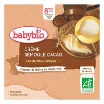 Babybio - 4 Gourdes Crème Cacao semoule dès 8 mois