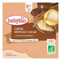 Babybio - Gourdes Crème cacao semoule 4 x 90g - Dès 8 mois