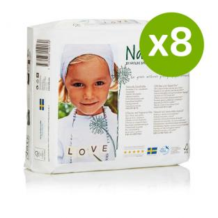 Naty by Nature Babycare - 8 Packs of 25 Naty Eco Nappies Size 4+ (9-20kg)