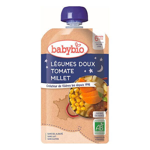 Babybio - Gourde Bonne Nuit Tomate Millet dès 6 mois - 120g