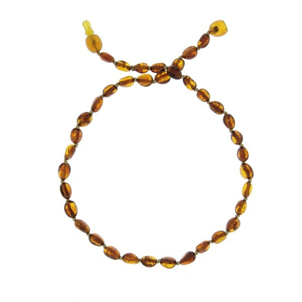 BalticWay - Child's Cognac Olive Amber Beaded Necklace