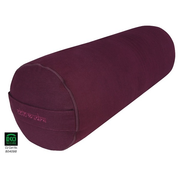 Chin Mudra - Bolster de yoga coton bio 65 x 21cm Prune