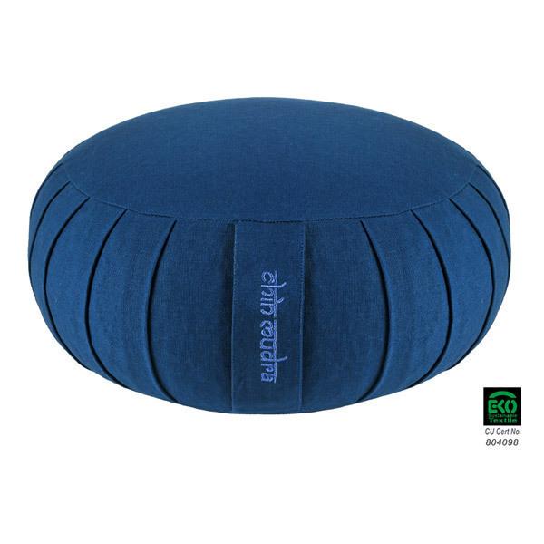Chin Mudra - Coussin Zafu Confort coton Bio 40 x 18cm Bleu