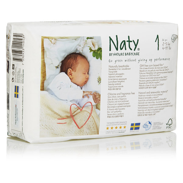 Nature Babycare - 8 Packs of 26 Eco Nappies Size 1 Newborn 2-5kg
