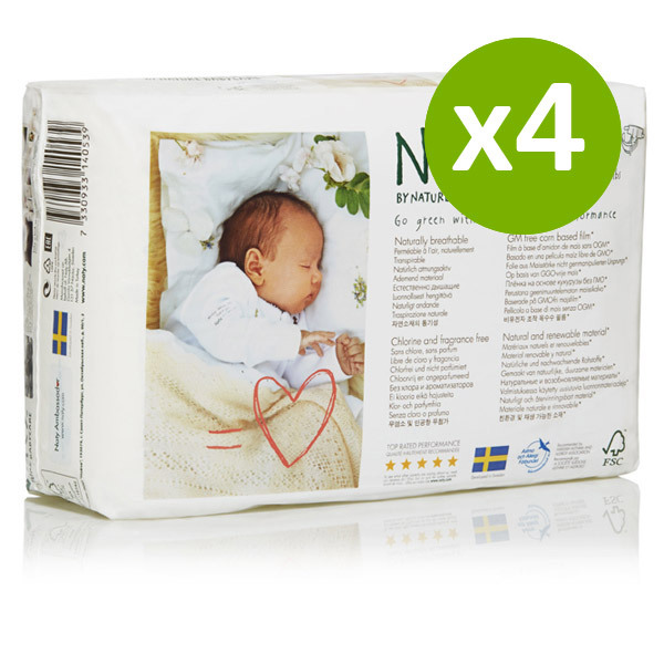 Naty by Nature Babycare - 4 Packs of 26 Naty Eco Nappies Size 1 (2-5kg)