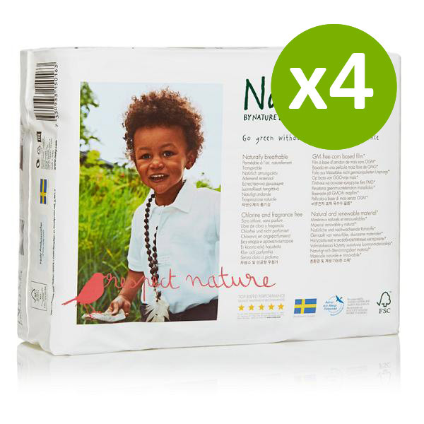 Naty by Nature Babycare - 4 Packs of 31 Naty Eco Nappies Size 3 (4-9kg)