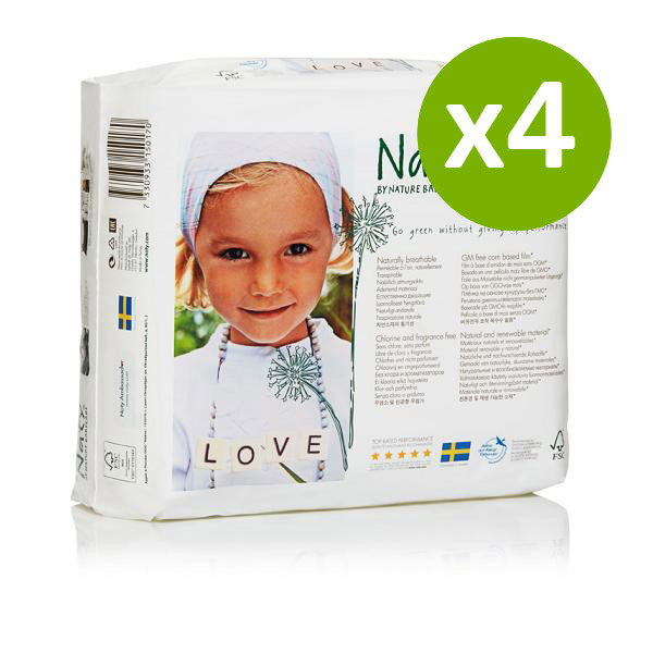 Nature Babycare - 4 Packs of 27 Eco Nappies Size 4 Maxi 7-18kg