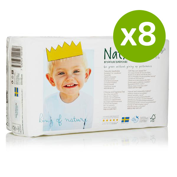 Naty by Nature Babycare - 8 Packs of 34 Naty Eco Nappies Size 2 (3-6kg)