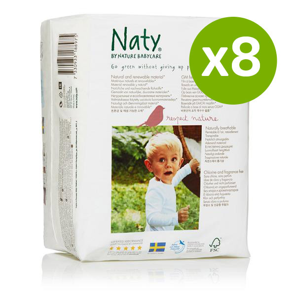 Nature Babycare - 8 Packs of 18 Eco Nappies Size 6 Extra Large 16kg+