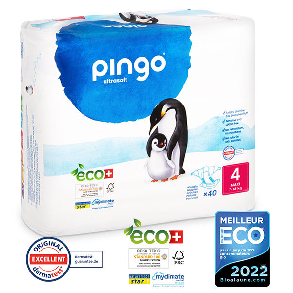 Pingo - Pack 4 x 40 couches écologiques jetables T4 7-18kg