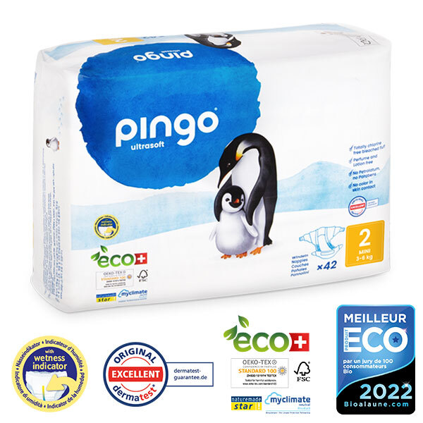 Pingo - Pack 4 x 42 couches écologiques jetables T2 3-6kg