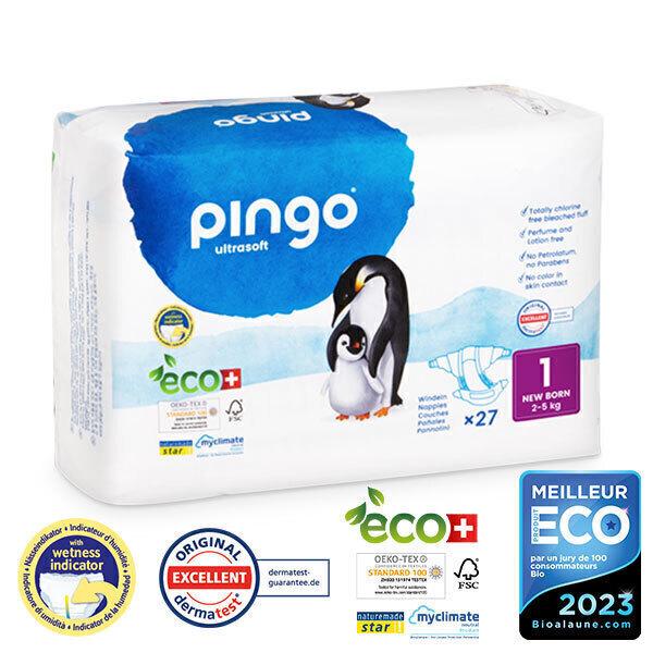 Pingo - Pack 8 x 27 couches écologiques jetables T1 2-5 kg