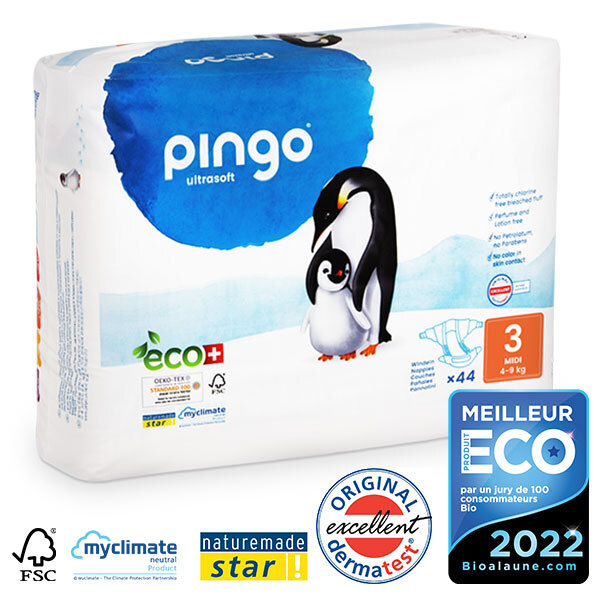 Pingo - Pack 8 x 44 couches écologiques jetables T3 4-9kg