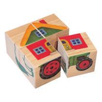 Selecta - 4 Cubes Puzzle pour Bébé  La Ferme