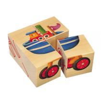 Selecta - 4 Cubes Puzzle pour Bébé  Les Véhicules