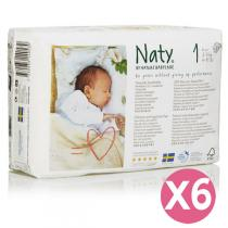 Naty by Nature Babycare - Pack 6 paquets 26 Couches Eco Newborn 2-5 kg