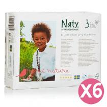 Naty by Nature Babycare - Pack 6 paquets 31 couches Eco Midi 4-9 kg