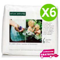 Naty by Nature Babycare - Pack 6 paquets 18 Couches Eco XL 16 kg+