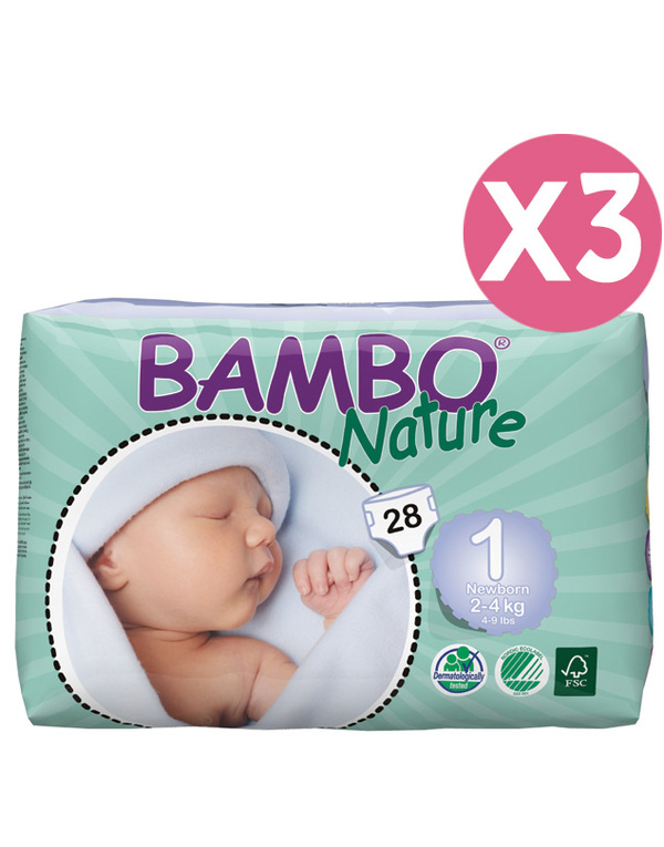 Bambo Nature - Pack 3 paquets 28 couches T1 Newborn, 2-4 kg