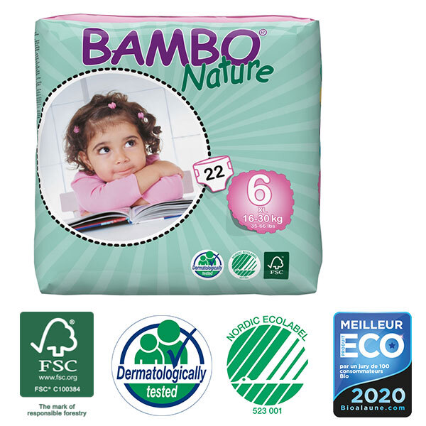 Bambo Nature - Pack de 6 paquets 44 couches T6 XL 16-30 kg