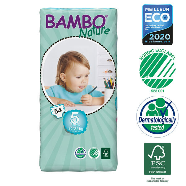 Bambo Nature - Pack de 6 paquets 54 couches jetables T5 Junior 12-22 kg