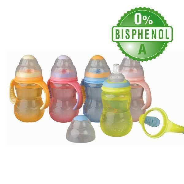 Nuby - Biberon col large anti-colique 300 ml avec Bec silicone 6 mois