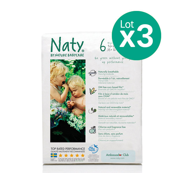 Pack 3 Paquets 18 Couches Eco Xl 16 Kg Eco By Naty