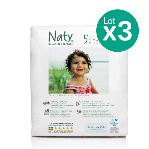 Eco by Naty - Pack de 3 paquets 23 Couches Eco Junior 11-25 kg