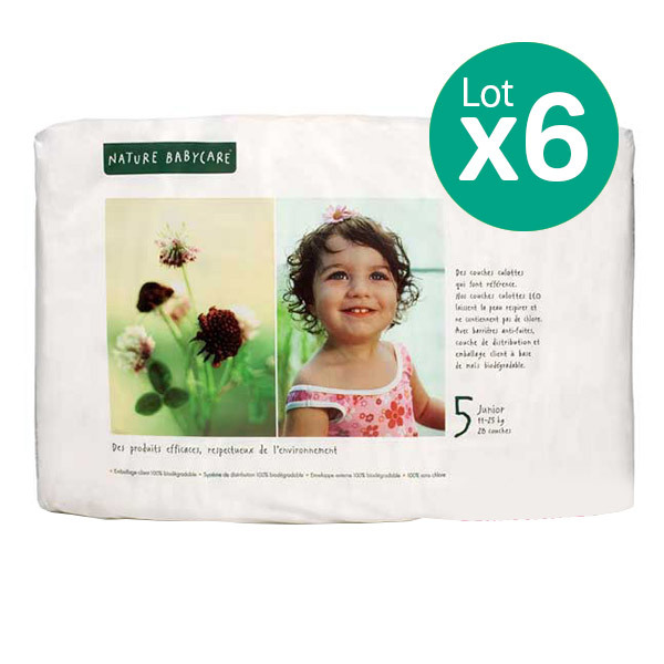 Eco by Naty - Pack de 6 paquets 23 Couches Eco Junior 11-25 kg