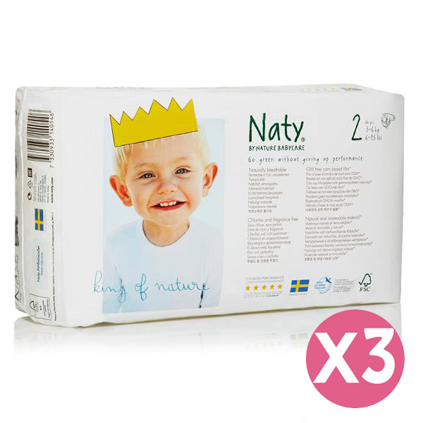 Naty by Nature Babycare - Pack 3 paquets 34 Couches Eco Mini 3-6 kg