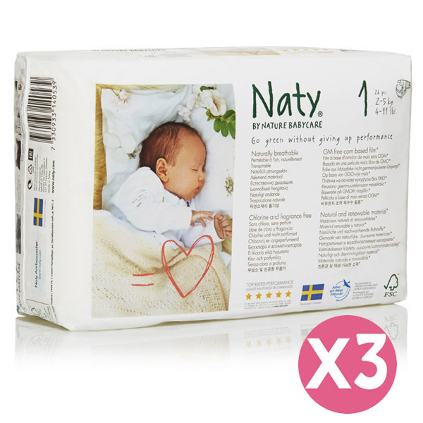Eco by Naty - Pack 3 paquets Couches Eco Newborn 2-5 kg