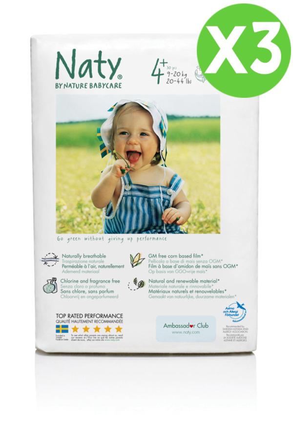 Eco by Naty - Pack de 3 paquets de 25 Couches Eco Maxi+ 9-20 kg