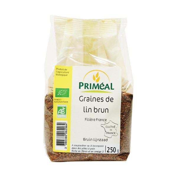 Priméal - Lot 2 paquets graines de Lin Brun 250 g