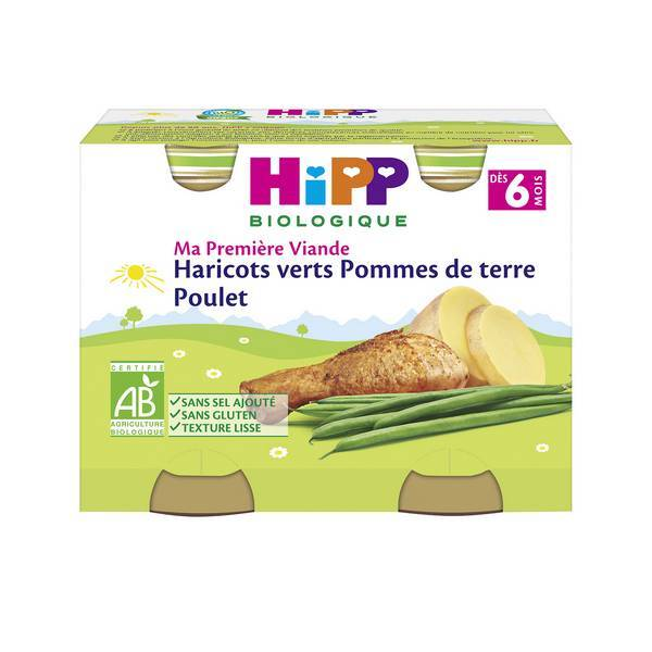 HiPP - 2 pots haricots pommes de terre poulet dès 6 mois 190g