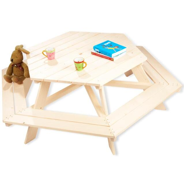 Table hexagone et chaise enfant en bois nicki pinolino - Table enfant avec chaise ...