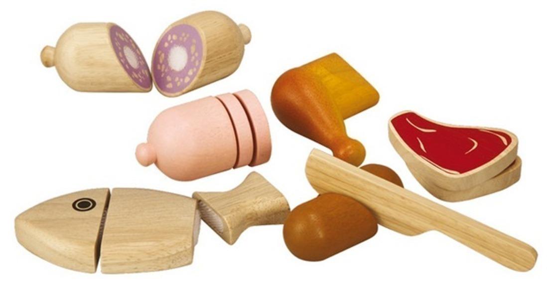 Plan Toys - Assortiment d'aliments à couper, en bois d'hévéa - Dès 3 ans