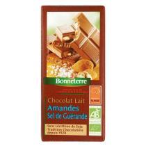 Bonneterre - Chocolat lait amandes sel de guerande, 100g