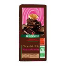 Bonneterre - Chocolat noir macarons amandes, 100g