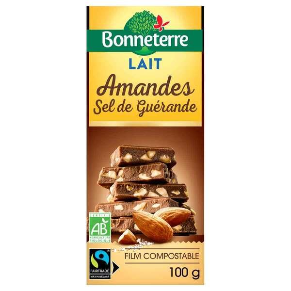 Bonneterre - Tablette chocolat lait, amandes et sel de Guérande 100g
