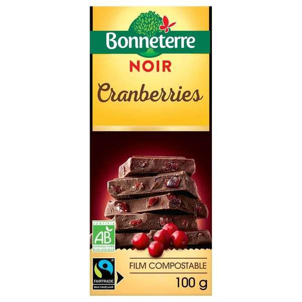 Bonneterre - Tablette chocolat noir cranberries 100g