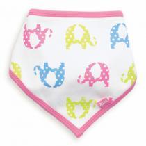 Kite Kids - Bandana coton bio, coloris blanc motifs éléphants roses