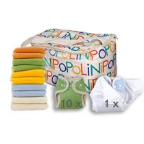 Popolini - Lot de 10 couches lavables Rainbow soft , 1 culotte de protectio