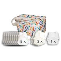 Popolini - Lot de 8 couches lavables Ultrafit flanelle, 2 couches spécial n