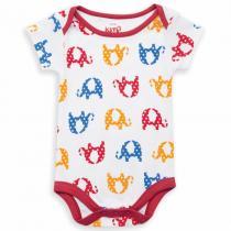 Kite Kids - Body à manches courtes, coton bio, coloris blanc motifs éléphant