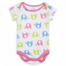 Kite Kids - Body à manches courtes en coton bio, coloris blanc motifs élépha