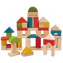EverEarth - Jeu de construction 50 cubes en bois - dès 18 mois